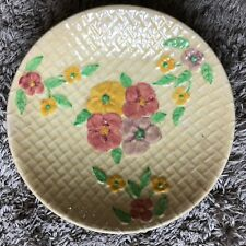 WADE HEATH ART DECO FRUIT BOWL YELLOW WITH FLOWERS GOOD CONDITION
