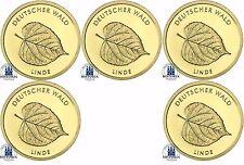 """Deutschland 5 x 20 Euro Gold """" Linde """" Deutscher Wald 2015 Goldsatz A D F G J"""