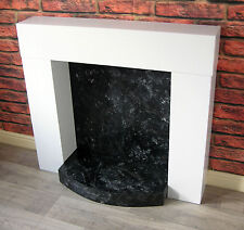 Modern Chunky White Box Fire Surround with Marble Effect Hearth & Backplate