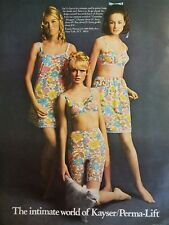 1968 KAYSER PERMA-LIFT women's mod floral print girdle bra slip fashion ad