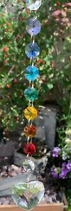 Chakra Crystal Heart Suncatcher Window Hanging Rainbow Pendant Home Decor Garden