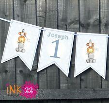 Personalised 1st Birthday Boy Blue Party Decoration Banner Bunting Jungle pals