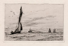 "Splendid Original 1800s George Stratton FERRIER Etching ""A Day of Sailing"" COA"