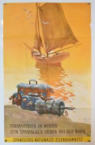 "Original Vintage Travel Poster - Spanish Railway - 1964 (24,5"" x 39"")"