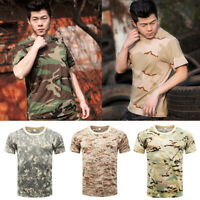 Mens Camouflage Top Short Sleeve T-Shirt Training Military Army Outdoors Shirts