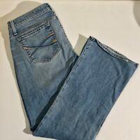 Aeropostale Blue Denim Distressed Stretch Jeans Flare Bottoms Size 11 / 12 S