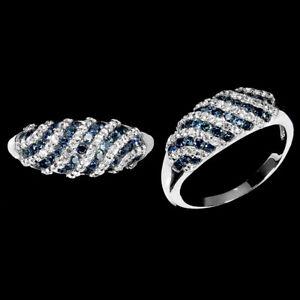 Blue Sapphire White Topaz Round Diamond Cut 925 Sterling Silver Ring Size 7
