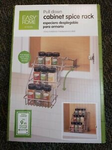 Convenient Easy home Pull Down Cabinet Spice Rack, Easy to Install Organizer