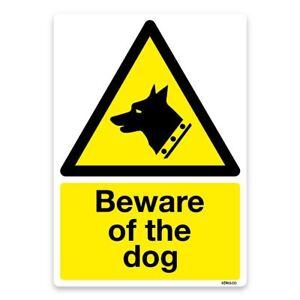 PREMIUM Beware of the dog Vinyl Sticker, Laminated, Security Warning Safety Sign