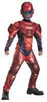 Red Spartan Muscle Child Boys Costume Jumpsuit Helmet Halloween Disguise