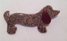 VTG BROACH LEA STEIN BAKELITE FRANCE PARIS PIN WEINER DOG DACHSHUND OLD ANTIQUE