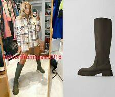 ZARA NEW WOMAN RUBBERISED FLAT BOOTS RAIN TALL-LEG KHAKI GREEN 35-42 3007/610