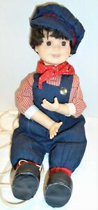 """Vintage Animated Train Conductor Doll, working condition, 13"""""""
