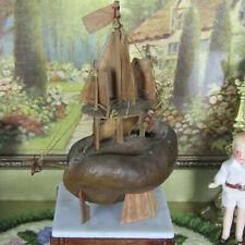 Vintage Dollhouse SHIP STATUE SCULPTURE Miniature Boat NAUTICAL Artisan Figurine