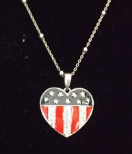 Red, White, & Blue Heart Shaped Necklace in