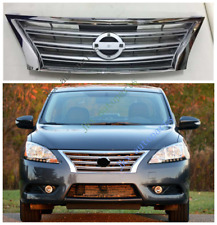 Chrome Front Bumper Middle Hood Grille Grill Fit For Nissan Sentra 2013-15