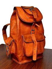 genuine men's Real leather backpack bag satchel briefcase laptop brown vintage
