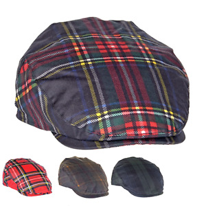 British Waxed Cotton Tartan Flat Cap Waterproof Check Lining ZH183