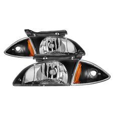 Chevy 00-02 Cavalier Black Housing Replacement Headlights + Corner Lamps LS Z24