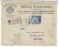 1930 Montevideo Uruguay Commercial Registered to New York, 5c Single Franking