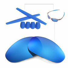 Walleva Ice Blue lenses And w Ear socks T-shocks for Oakley Juliet