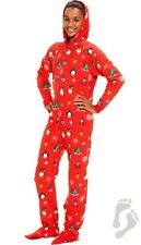 Holly Jolly Hooded Footed Pajamas Penguins Adult NEW L / XL* LAST ONE