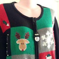 Bechamel Christmas Xmas Sweater Zip Front Cardigan XL