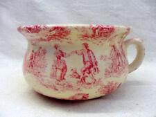 Small decorative chamber pot planter in pink toile de jouy design