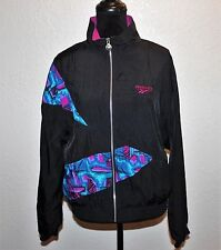 Vintage REEBOK Windbreaker Jacket 1980s 1990s Purple Black Geometric Size Medium