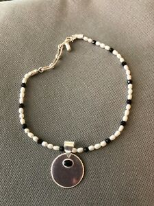 FRESHWATER PEARL, BLACK ONYX AND STERLING SILVER PET CAT DOG COLLAR with