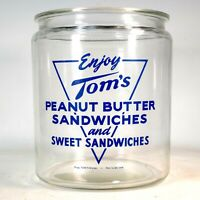 """Large """"TOM'S Peanut Butter Sandwich Sweet Sandwiches Counter Store Display Jar"""