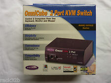 NUOVO Belkin omnicube 2 Port Keyboard Video Mouse KVM SWITCH F1D092u NUOVO CON SCATOLA IVA N.