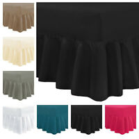 100% Pure T200 Egyptian Cotton Frilled Fitted Valance Sheet Single Double King