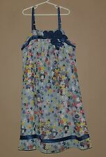Girls BLUSH By US Angels Blue Flower Applique Shift Dress Size 14 Summer