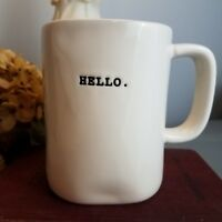Rae Dunn Hello Coffee Mug Farmhouse Magenta Typewriter Print Cottage Home Decor