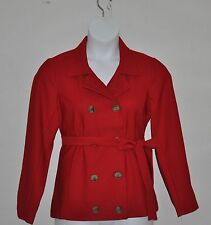 Joan Rivers Double Breasted Knit Jacket With Belt Size L Red