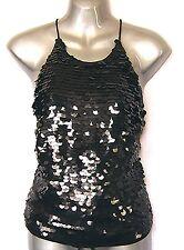 Betty Jackson Debenhams Sexy Black Lined Sequin Party Evening S10 Halterneck Top