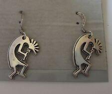 Sterling Silver 17x12mm Flat Indian Kokopelli 14mm Wire Earrings