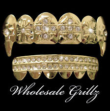 REAL 14K GOLD PLATED iced out Grill VAMPIRE Dracula Fang HIPHOP Teeth ICE GRILLZ