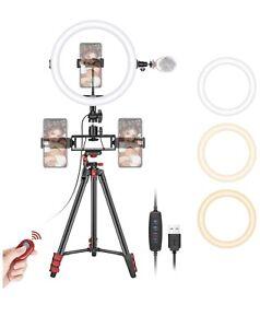 "Neewer 10"" LED Selfie 10-Level Brightness & 3 Mode Ring Light w/ 3 Phone Holders"