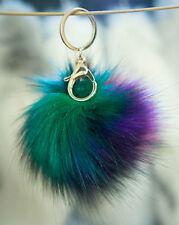 *UK Seller* Fake Raccoon Fur Pompom Keyring Bag Charm Keychain 12cm Ring Pom Pom