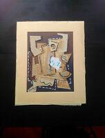 Rare grand collage superbe état signé dlg Juan Gris tableau Ecole de Paris
