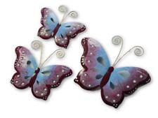 Butterfly Wall Art Ornament - Metal Butterflies Wall Hanging - Purple - Set of 3