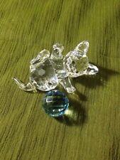 Kitten Lying, With Blue Ball Of Yarn From Swarovski Crystal Figurines