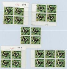 Jamaica 1969 Overprint Varieties & Flaws - 5c SG284, 5 Blocks with Varieties