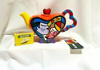 ROMERO BRITTO MINI TEAPOT – HEART *  blue  brand NEW in box made 2010