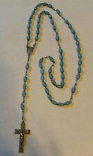 VINTAGE PLASTIC POWDER BLUE JESUS, MOTHER AND SON ROSARY BEADS/RELIGIOUS