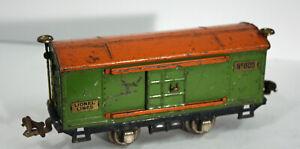 O27 LIONEL tinplate green orange BOXCAR w/ yellow door