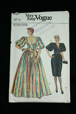 Vintage 1980 S VOGUE 8738 Misses evening dress sewing pattern Taille 8