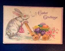 Vintage 1923  Bunny Eggs Wagon Easter Greetings Postcard
